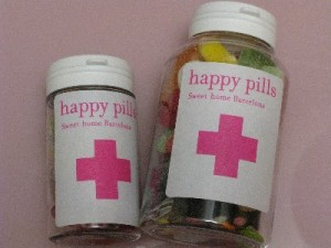 Happy Pills filled in bottles